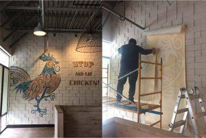 Custom stencil wall mural install